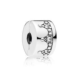 Dazzling coroa charme clip para pandora cz diamante 925 esterlina prata diy acessórios presente de aniversário com caixa
