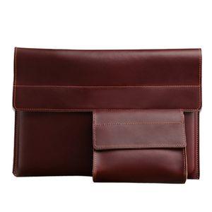 2019 nouveau Mac air 13 pouces sac liner portable bouton magnétique d'affaires rétro plat de cas sac de couverture en cuir véritable protection