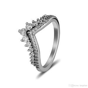 Pandora takı yüzük ile uyumlu gümüş Prenses İstek yüzükler Ile CZ 100% Kadınlar Için 925 ayar gümüş takı toptan DIY