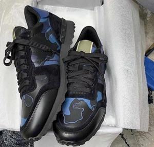 Nuovo Studded Camouflage da tennis degli uomini Piattaforma Donne Appartamenti Rockrunner formatori Combo Star scarpe di cuoio dei pattini casuali di alta qualità multicolore