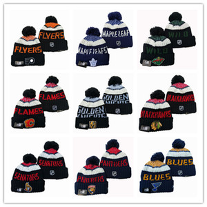 2019 Новое прибытие зимы Beanie для мужчин Вязаная шерсти Hat Gorro Bonnet с Сан-Хосе Шаркс Beanie Бостон Питтсбург Пингвинз зима теплая