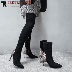 Nuovo RIBETRINI stirata del cuoio genuino Flock sottile sexy tacchi alti Stivaletti o sopra il ginocchio Scarpe Stivali da donna donna