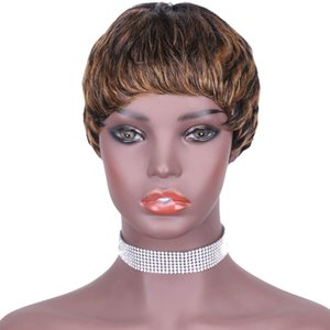 Human máquina peruca de cabelo nova chegada perucas curtas sexy tigre curto Humanos cabelo capless perucas nenhum laço frontal peruca ombre mulheres marley marrom
