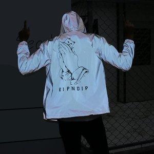 MSBsw Herbst New Basis Katze reflektierende Kapuze Mantel Abnutzung wearWindbreaker Paar Wear Männer Trendsport Student Jacke Klasse Kleidung Paar cl