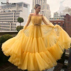 Smileven Yellow Off The Shoulder Dresses Prom frisada Vestido De Festa Puff luva macio Tulle formal do partido vestidos de noite