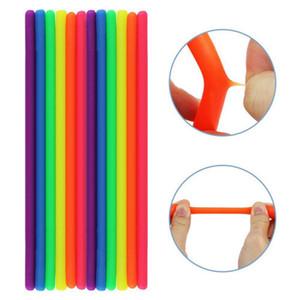 100pcs Nouveauté environnement Décompression Corde Fidget abréagir Colle flexible Noodle Cordes Stretchy cordes Neon Slings Jouets pour enfants adultes
