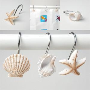 Branco marrom ganchos de suspensão resina cortina de banho gancho estrela do mar concha modelagem artigos de banho EEA434