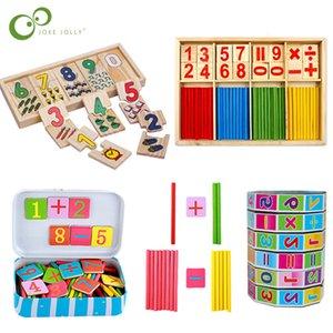 Venta caliente Educación Montessori Juguetes para bebés Caja Reloj Digital de Matemáticas Número cuenta del juguete digital de regalo de madera del palillo del bebé niños de juguete ZXH