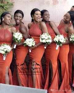 Sexy Black Girl Mermaid Bridesmaids Dresses 2019 Halter High Split Africano Arabo Cheap Satin lungo Wedding Guest Maid Of Honors Abiti