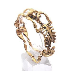 Serin Altın Renk Biker Rocker Için Gotik Kafatası Vücut Bilezik Erkek Bileklik Paslanmaz Çelik Erkek Takı