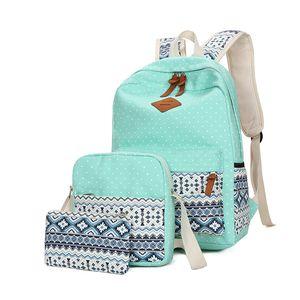 3Pcs set Ethnic Printing Canvas School Bags for Teenagers Girls Vintage Schoolbags Female Backpacks mochila Travel Backpack Y200706