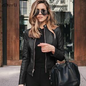2020 Leather Jacket Women PU Leather Jacket Spring Outwear Short Black Fashion Lady Coat Color Outwear عادي Motor ZX-2