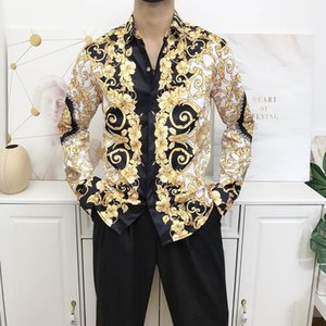 Hot fashion wave of men floral print luxe casual Harajuku shirts 3D long sleeved printing medusa men's shirts