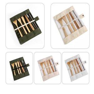 Moda da tavola di regola gli insiemi di legno articoli per la tavola ambientale forcella delle bacchette della lama del cucchiaio paglia Brush 5 pezzi da tavola con il sacchetto del panno WY76Q