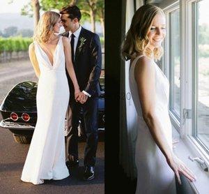 Graceful Mermaid Wedding Dresses Deep V Neck Backless Floor Length Beach Country Bridal Gowns vestidos de novia Cheap