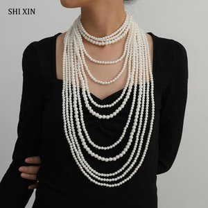 SHIXIN 5 Pcs Set Exaggerated Multi Layer Pearl Choker Necklace For Women Bead Large Long Necklace 2020 Fashion Statement Jewelry