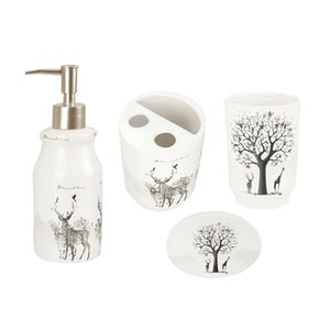 Bagno Set 4 Set di Bagno Holder Accessori Spazzolino da denti, spazzolino Cup, Portasapone, Hand Sanitizer Bottle - Elk