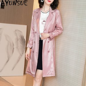 Женская траншея Пальто Ayunsue Windbreaker Розовое длинное пальто для женщин Элегантное пальто SOBRETUDO FEMININO SJF1915203B KJ4248