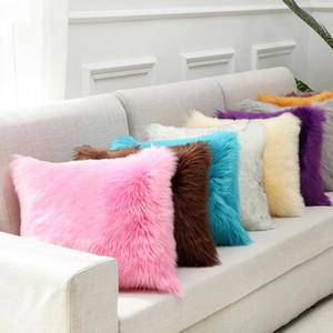 Plush Inverno quente fronha Sólidos Super macio Home Decor fronha Faux pele de ovelha capa de almofada decorativa LXL979-1