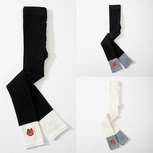 Pah4i Kız örme pamuk ayı aşınma Yabancı stil sonbahar ince çocuk tozluk bebekler Tayt külotlu Ayak bileği uzunlukta pantolon paletli' dokuz p