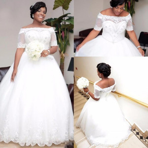 2019 Plus Size African White Ivory Ball Gown Wedding Dresses With Sleeves Boat Neck Beaded Crystals Wedding Dress Wedding Gowns