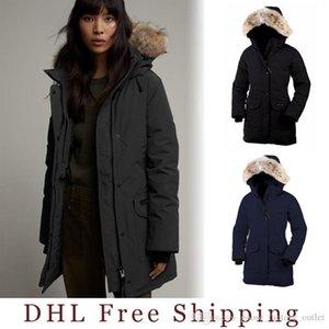 DHL Ücretsiz Kargo 2019 Yeni Marka Kanada Kadın Kaz Trillium jocket Aşağı Bombacı Kapşonlu Sıcak Coat Fur açık WINDBREAKER parka