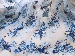 GLace 1Y Lot High qualtiy blue 3D flower beaded embroidery lace fabric soft mesh fabric heavy handmade cloth skirt dress TX925