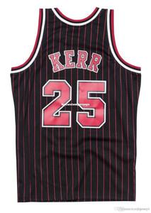 Baratas do costume Steve Kerr # 25 Mitchell Ness 95-96 Jersey-Riscas equipamentos de basquetebol dos homens Retro XS-6XL costurado NCAA