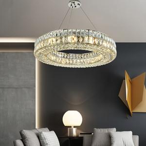 Anel Chandelier Modern Chandelier Iluminação para sala de estar Chrome cristal lâmpada Jantar lâmpada LED Quarto de suspensão luminária