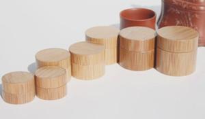 Nuevo frasco de cera de madera original 5g 10g 15g 20g 30g 50g productos naturales de forma redonda cosmética crema de bambú tarro