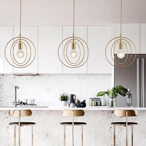 Nordic Metal круглые кольца подвесные светильники минималистские спальня прицела подвесной светильник креативный бар ресторан подвесной светильник