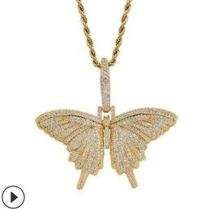 новое животное бабочка кулон ожерелье Шарм 4mmTennis цепь кубинская цепь золото серебро кубический Циркон мужские хип-хоп рок ювелирные изделия