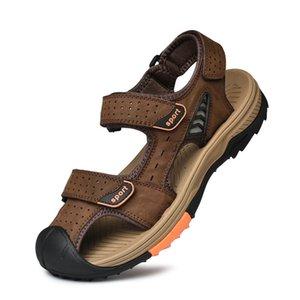 Sandals Men Masculina Sandalias Hombre Genuine Leather Closed-toe Velcro Sandals Full-grain Leather Sandalias