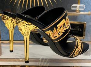 Les femelles d'été pantoufles printemps été haut talon Nouvelle impression de mode autour des chaussures de soirée de bout femmes Rhinesto avec boîte