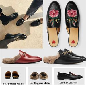 Vente chaude-2019 Marque Mules Princetown Hommes Femmes Pantoufles De Fourrure Mules Appartements En Cuir Véritable De Luxe Designer Mode Métal Chaîne Dames chaussures