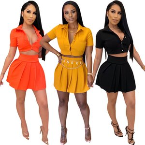 Women's Solid Color Fashion Short Sleeve Shirt + Mini Casual Beach Party Skirt Cute Short Two Piece Set Wholesale Dropshpping CX200702