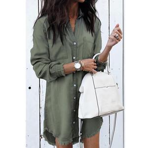 OLGITUM Nuovo 2019 Casual primavera e in autunno esplosione modelli moda multicolore Donne polsini nappe Giacca di jeans JK740
