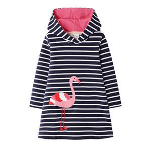 Bébés filles Robes à capuche rayé Flamingo sirène arc-en-fraise Appliqued 100% coton capuche manches longues A-ligne Princesse Robe 2-7T