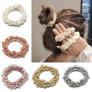 Korean Elegant Simulated Pearl Elastic Hair Bands For Women Scrunchie Fashion Hair Ties Ponytail Holder Girls Accessories