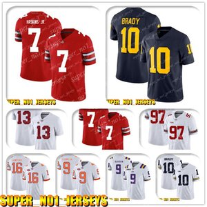 5-24 NCAA 7 Dwayne Haskins Jr 10 Tom Brady Michigan Wolverines College Football Jersey Joe Burrow A.J. Verde Andy Dalton John Ross