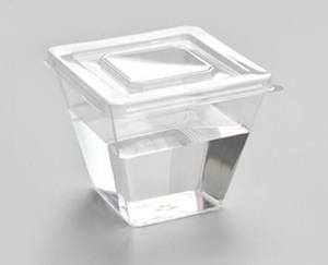 Quadrati Mini coppe da dessert con coperchio dessert shot vetri Trifle ciotola chiara di plastica a gettare dessert Tumbler tazze piccolo partito Coppe ND
