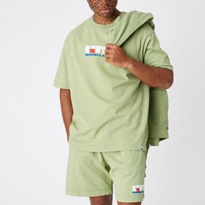 19SS KT×Russel Sportlich Bunte Anzug Junge T Hip Hop Mode T-shirt Einfache Straße Skateboard Casual Kurzen Ärmeln Sommer HFHLTX009