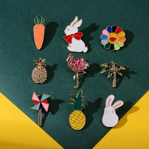 Cartoon Cute Animal Brooches Pins Pineapple Sun Flower Glasses Flamingo Brooch for Women Girl Corsage Jewelry Accessories
