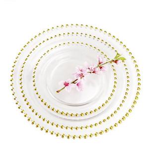 Bead 32cm redondo plateado platos placas de vidrio transparente Placa occidental Alimentos Relleno boda Decoración de la mesa de la cocina Herramientas GGA3205