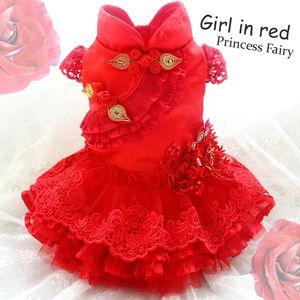 tabaka kabarık iplik pet giysi gece elbisesi Luxurio sonra ücretsiz nakliye el yapımı şaşırtıcı kırmızı köpek elbiseler altın kurbağa dantel tabakası