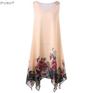 2020 New Summer Women Dress Plus Size Chiffon Floral Print Chiffon Sleeveless Irregular Hem Mini Beachwear Sundress 9030526