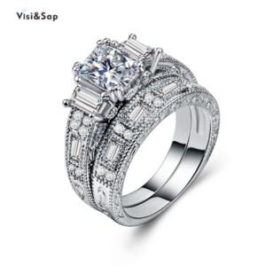 vendita all'ingrosso Brilliant Bride Set Ring Set oro bianco colore anelli zircone per le donne matrimonio fidanzamento paio gioielli moda CSB883