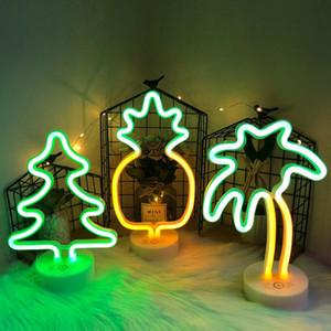 Neon-Zeichen LED Neon Lights USB / Battery Power Weihnachtsbaum Neon-Lampe für Kinder Geburtstags-Geschenke Schlafzimmer Wohnkultur Flamingo Cactus Nachttischlampe