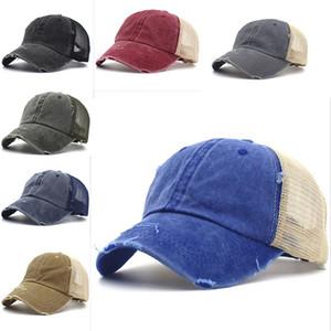 뜨거운 씻어 빈티지 염색 된 야구 모자 horsetail 모자 유니섹스 클래식 일반 야외 메쉬 모자 여행 패션 파티 모자 DA451