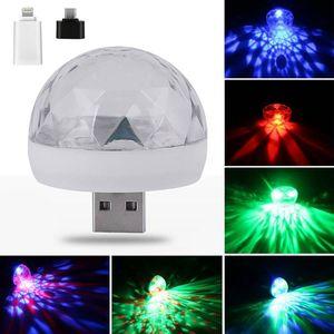 Mini USB LED Laser Stage Light RGB Car Portable Crystal Magic Ball Party Light Club Disco DJ Lampada Auto Telefono cellulare PC